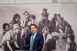 An Taoiseach, Leo Varadkar, speaking at the National Famine Commemoration, Stephen St Car Park, Sligo Photo: James Connolly
