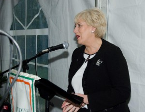 Minister Humphreys addresses assembled crowds at the Great Hunger Commemoration ceremony